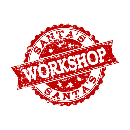 Grunge red SANTA'S WORKSHOP stamp seal. Vector SANTA'S WORKSHOP rubber seal with draft effect. Isolated red colored watermark on a white background.