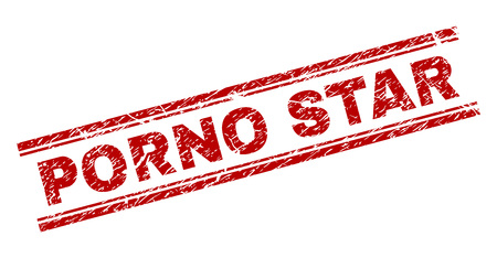PORNO STAR seal imprint with distress texture. Red vector rubber print of PORNO STAR tag with corroded texture. Text tag is placed between double parallel lines. Illustration