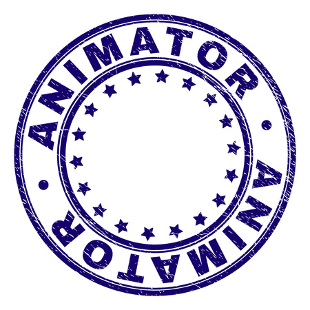 ANIMATOR stamp seal watermark with distress texture. Designed with circles and stars. Blue vector rubber print of ANIMATOR tag with dirty texture.