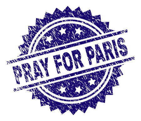 PRAY FOR PARIS stamp seal watermark with distress style. Blue vector rubber print of PRAY FOR PARIS text with dust texture. Illustration