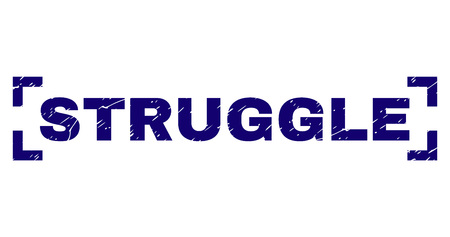 STRUGGLE title seal stamp with grunge style. Text title is placed between corners. Blue vector rubber print of STRUGGLE with grunge texture.