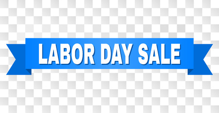 LABOR DAY SALE text on a ribbon. Designed with white title and blue stripe. Vector banner with LABOR DAY SALE tag on a transparent background.