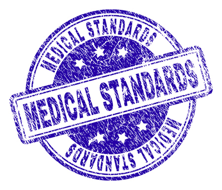 MEDICAL STANDARDS stamp seal watermark with distress texture. Designed with rounded rectangles and circles. Blue vector rubber print of MEDICAL STANDARDS text with corroded texture.