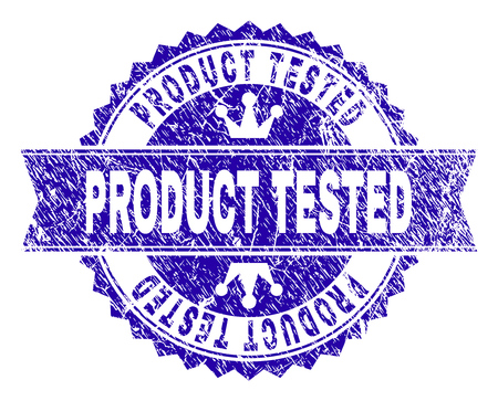 PRODUCT TESTED rosette stamp seal watermark with grunge texture. Designed with round rosette, ribbon and small crowns. Blue vector rubber watermark of PRODUCT TESTED text with unclean texture.