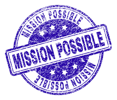 MISSION POSSIBLE stamp seal imprint with distress texture. Designed with rounded rectangles and circles. Blue vector rubber print of MISSION POSSIBLE caption with unclean texture.