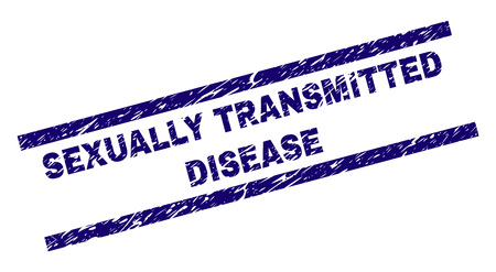 SEXUALLY TRANSMITTED DISEASE seal print with scratced style. Blue vector rubber print of SEXUALLY TRANSMITTED DISEASE caption with unclean texture. Text title is placed between parallel lines.