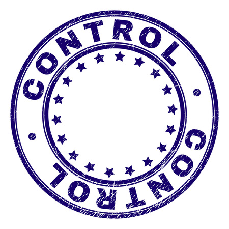 CONTROL stamp seal watermark with grunge texture. Designed with round shapes and stars. Blue vector rubber print of CONTROL tag with retro texture.