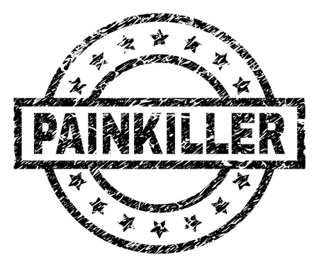 PAINKILLER stamp seal watermark with distress style. Designed with rectangle, circles and stars. Black vector rubber print of PAINKILLER tag with retro texture. Illustration