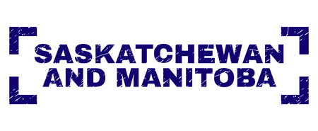 SASKATCHEWAN AND MANITOBA text seal print with distress effect. Text title is placed inside corners. Blue vector rubber print of SASKATCHEWAN AND MANITOBA with dirty texture.
