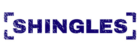 SHINGLES text seal watermark with grunge texture. Text caption is placed inside corners. Blue vector rubber print of SHINGLES with corroded texture. Illustration