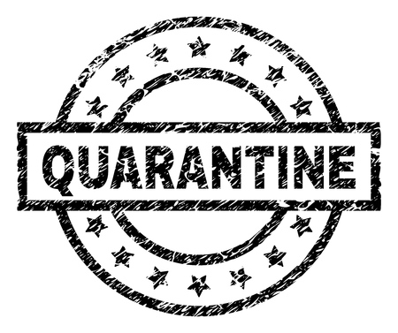 QUARANTINE stamp seal watermark with distress style. Designed with rectangle, circles and stars. Black vector rubber print of QUARANTINE caption with dust texture.