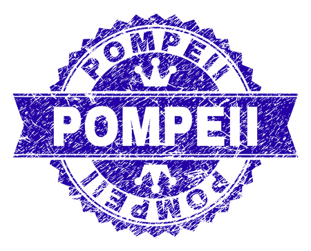 POMPEII rosette seal watermark with grunge texture. Designed with round rosette, ribbon and small crowns. Blue vector rubber print of POMPEII text with unclean texture.
