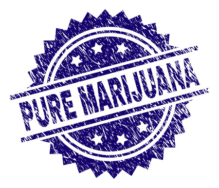 PURE MARIJUANA stamp seal watermark with distress style. Blue vector rubber print of PURE MARIJUANA caption with scratched texture.