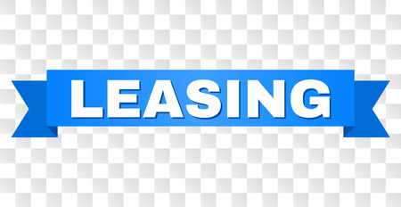 LEASING text on a ribbon. Designed with white caption and blue stripe. Vector banner with LEASING tag on a transparent background. Banco de Imagens - 116190987
