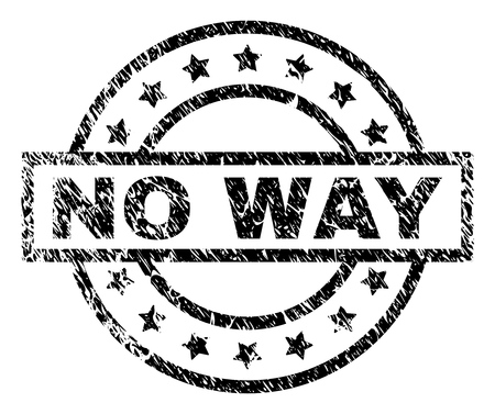 NO WAY stamp seal watermark with distress style. Designed with rectangle, circles and stars. Black vector rubber print of NO WAY caption with scratched texture.