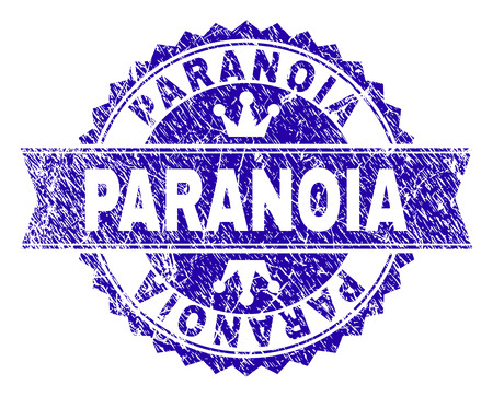 PARANOIA rosette seal watermark with grunge effect. Designed with round rosette, ribbon and small crowns. Blue vector rubber watermark of PARANOIA label with corroded texture.