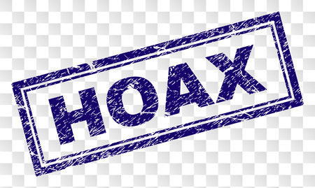 HOAX stamp seal print with rubber print style and double framed rectangle shape. Stamp is placed on a transparent background. Blue vector rubber print of HOAX text with dust texture.
