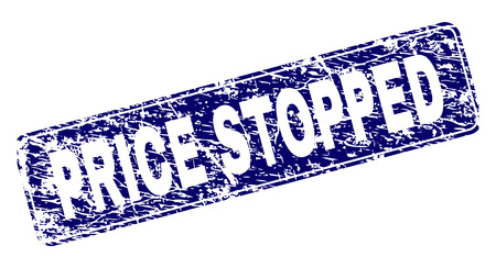 PRICE STOPPED stamp seal watermark with grunge style. Seal shape is a rounded rectangle with frame. Blue vector rubber print of PRICE STOPPED caption with dirty style.