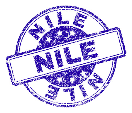 NILE stamp seal imprint with grunge texture. Designed with rounded rectangles and circles. Blue vector rubber print of NILE caption with grunge texture.