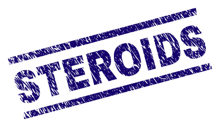 STEROIDS seal print with grunge style. Blue vector rubber print of STEROIDS text with grunge texture. Text label is placed between parallel lines. Illustration