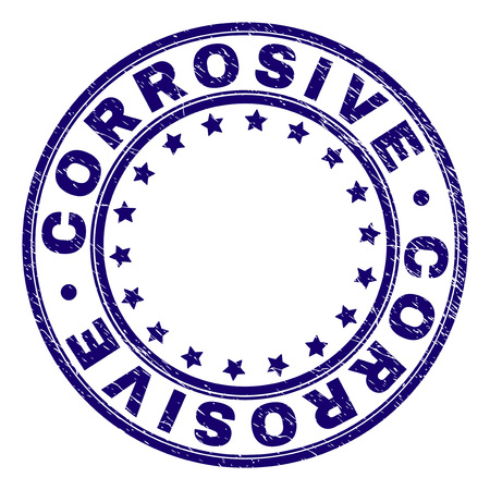 CORROSIVE stamp seal watermark with grunge texture. Designed with round shapes and stars. Blue vector rubber print of CORROSIVE tag with scratched texture.
