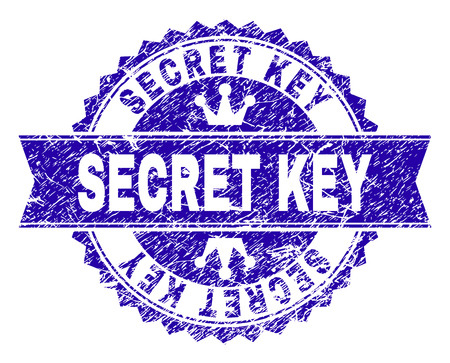 SECRET KEY rosette stamp seal watermark with distress texture. Designed with round rosette, ribbon and small crowns. Blue vector rubber watermark of SECRET KEY tag with unclean texture.