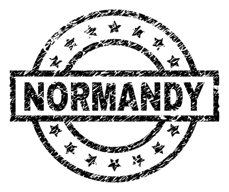 NORMANDY stamp seal watermark with distress style. Designed with rectangle, circles and stars. Black vector rubber print of NORMANDY tag with dirty texture. Illustration