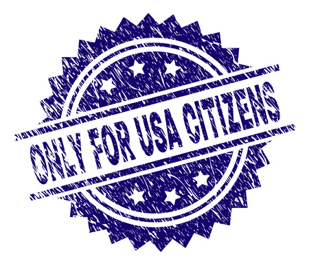 ONLY FOR USA CITIZENS stamp seal watermark with distress style. Blue vector rubber print of ONLY FOR USA CITIZENS label with unclean texture. Illustration