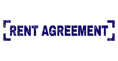 RENT AGREEMENT text seal watermark with grunge texture. Text title is placed between corners. Blue vector rubber print of RENT AGREEMENT with grunge texture. Illusztráció
