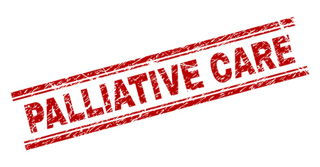PALLIATIVE CARE seal imprint with grunge texture. Red vector rubber print of PALLIATIVE CARE label with grunge texture. Text caption is placed between double parallel lines.