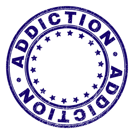 ADDICTION stamp seal watermark with distress texture. Designed with round shapes and stars. Blue vector rubber print of ADDICTION label with retro texture.