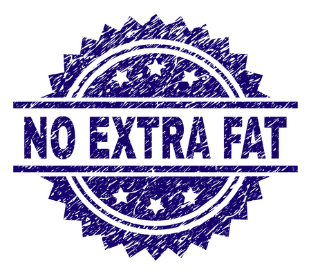 NO EXTRA FAT stamp seal watermark with distress style. Blue vector rubber print of NO EXTRA FAT caption with grunge texture.