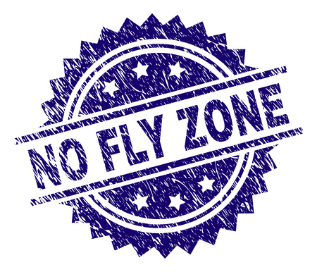 NO FLY ZONE stamp seal watermark with distress style. Blue vector rubber print of NO FLY ZONE title with scratched texture.