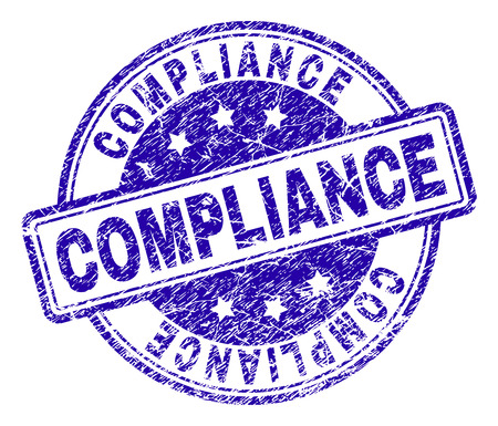 COMPLIANCE stamp seal imprint with distress texture. Designed with rounded rectangles and circles. Blue vector rubber print of COMPLIANCE tag with dirty texture.