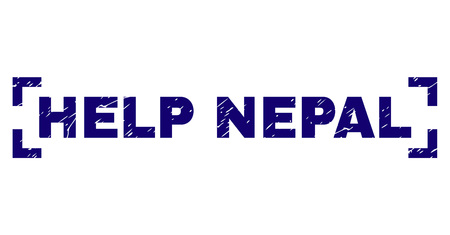 HELP NEPAL title seal watermark with distress style. Text title is placed inside corners. Blue vector rubber print of HELP NEPAL with grunge texture.