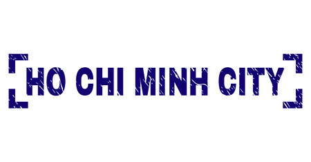 HO CHI MINH CITY caption seal print with grunge texture. Text caption is placed between corners. Blue vector rubber print of HO CHI MINH CITY with grunge texture.