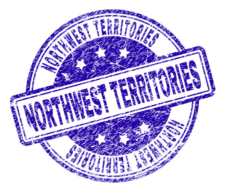 NORTHWEST TERRITORIES stamp seal watermark with grunge texture. Designed with rounded rectangles and circles. Blue vector rubber print of NORTHWEST TERRITORIES title with grunge texture. 일러스트