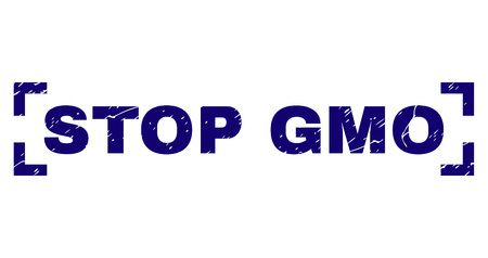 STOP GMO text seal print with corroded style. Text tag is placed between corners. Blue vector rubber print of STOP GMO with unclean texture.