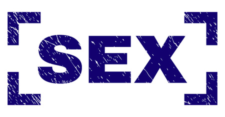 SEX title seal stamp with distress texture. Text title is placed between corners. Blue vector rubber print of SEX with grunge texture.