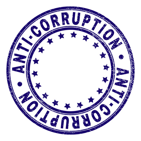 ANTI-CORRUPTION stamp seal watermark with grunge texture. Designed with round shapes and stars. Blue vector rubber print of ANTI-CORRUPTION label with dust texture.