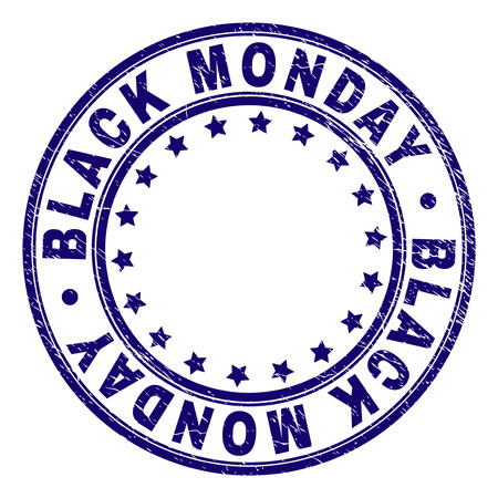 BLACK MONDAY stamp seal watermark with distress texture. Designed with round shapes and stars. Blue vector rubber print of BLACK MONDAY title with scratched texture.