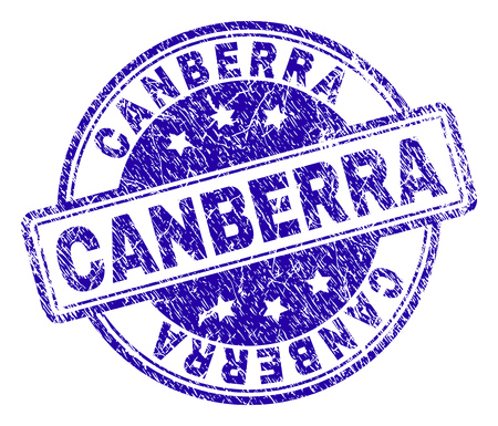 CANBERRA stamp seal imprint with grunge texture. Designed with rounded rectangles and circles. Blue vector rubber print of CANBERRA title with grunge texture. Illustration