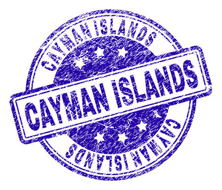 CAYMAN ISLANDS stamp seal imprint with distress texture. Designed with rounded rectangles and circles. Blue vector rubber print of CAYMAN ISLANDS title with unclean texture.