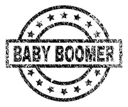 BABY BOOMER stamp seal watermark with distress style. Designed with rectangle, circles and stars. Black vector rubber print of BABY BOOMER tag with retro texture.
