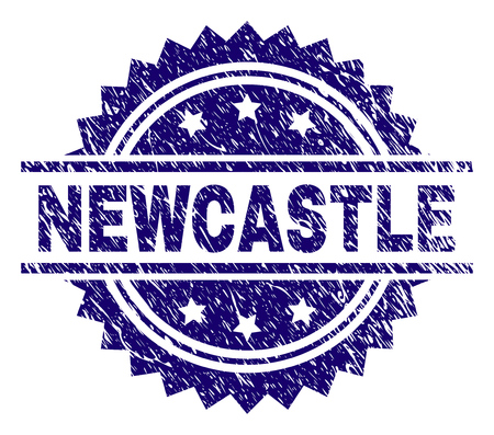 NEWCASTLE stamp seal watermark with distress style. Blue vector rubber print of NEWCASTLE tag with dust texture.