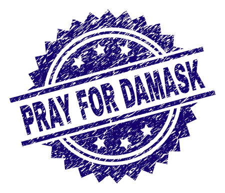 PRAY FOR DAMASK stamp seal watermark with distress style. Blue vector rubber print of PRAY FOR DAMASK title with retro texture.
