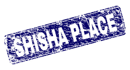 SHISHA PLACE stamp seal print with grunge texture. Seal shape is a rounded rectangle with frame. Blue vector rubber print of SHISHA PLACE tag with grunge style. Banque d'images - 125689890