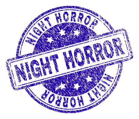 NIGHT HORROR stamp seal imprint with grunge texture. Designed with rounded rectangles and circles. Blue vector rubber print of NIGHT HORROR text with grunge texture.