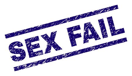 SEX FAIL-Siegeldruck mit zerkratztem Stil. Blauer Vektorgummidruck von SEX FAIL-Text mit korrodierter Textur. Die Textbeschriftung wird zwischen parallelen Linien platziert.