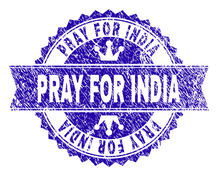PRAY FOR INDIA rosette stamp watermark with grunge style. Designed with round rosette, ribbon and small crowns. Blue vector rubber watermark of PRAY FOR INDIA label with corroded style.